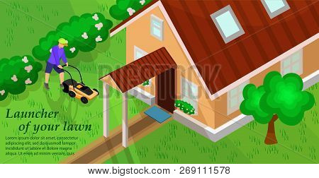 Garden Equipment In Lawn. Lawnmower Concept. Natural Growth And Plant Care. Gardener Man Mows A Lawn