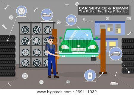 Car Service And Repair Concept. Car Maintenance In Garage. Automobile Workshop Set. Car Mechanic Wor