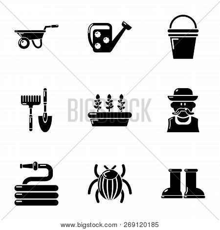 Large Garden Icons Set. Simple Set Of 9 Large Garden Vector Icons For Web Isolated On White Backgrou