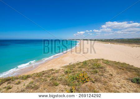 Landscape Of Beach Of Trafalgar Lighthouse Or Cala Isabel