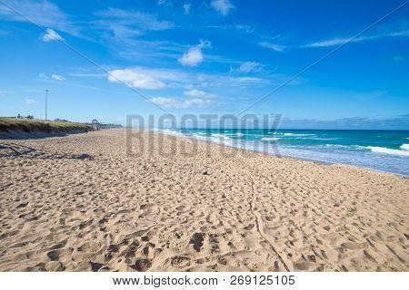 Lonely Sandy Long Beach Of Palmar In Cadiz