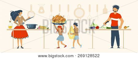 Happy Family Cooking Together A Turkey For Thanksgiving Day Concept. Poster, Banner Template For Coo