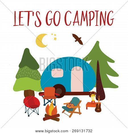 Let's Go Camping Travel Vector Illustration - Summer Camping. Blue Camping Van With Campfire, Chairs