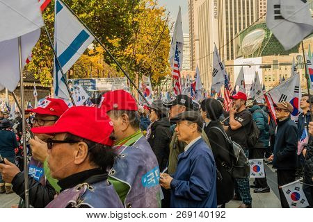 Seoul, South Korea; November 10, 2018: Unidentified Group Of Koreans Gather At Rally In Central Seou