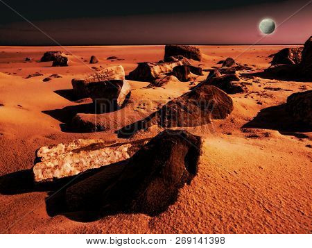 View Of The Red Terrestrial Planet With A Moon