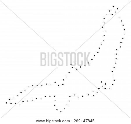 Vector Stroke Dot Honshu Island Map In Black Color, Small Border Points Have Diamond Shape. Track Th