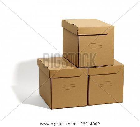 cardboard boxes isolated, real shadow, clipping path