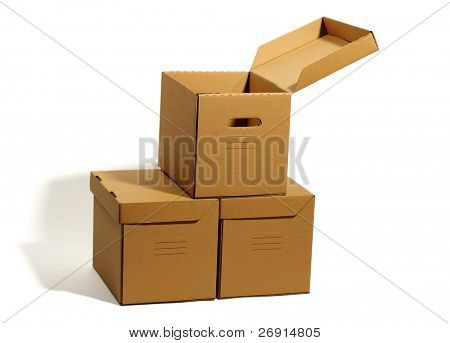 cardboard boxes isolated, clipping path without shadow