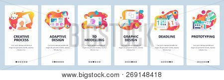Vector Web Site Onboarding Screens Gradient Template. Graphic Design, Prototyping, Creative Artist A