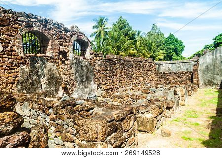 Ruins of former penal colony at Ile Royale, one of the islands of Iles du Salut Islands of Salvation in French Guiana poster