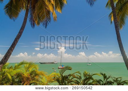 Yachts anchored by Ile Royale, one of the islands of Iles du Salut Islands of Salvation in French Guiana. poster