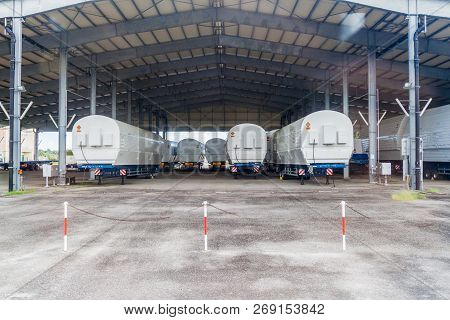 Kourou, French Guiana - August 4, 2015: Segments Of Soyuz Rockets At Soyuz Launch Complex At Centre