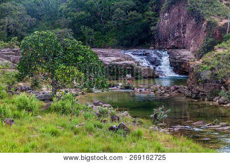 Waterfall In Gran Sabana Region In National Park Canaima, Venezuela.