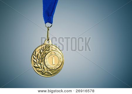 gold medal and copy-space