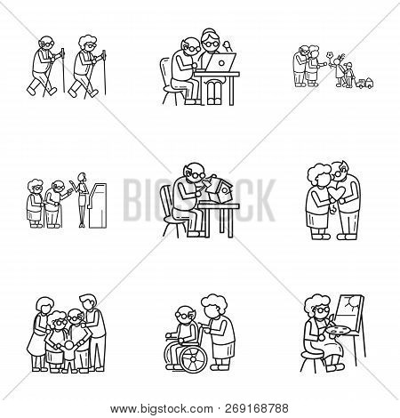 Older Person Lifestyle Icon Set. Outline Set Of 9 Older Person Lifestyle Vector Icons For Web Design