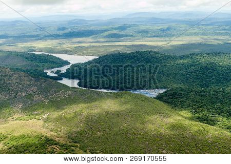 Aerial View Of River Carrao Flowing Into River Caroni In Venezuela