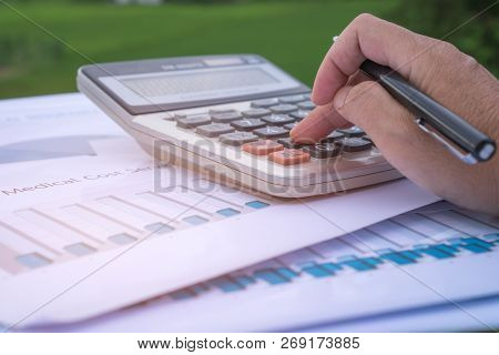 Paperwork Medical Cost Sevice Accounting Planning Budget Concept : Accountant Hands Calculate Financ