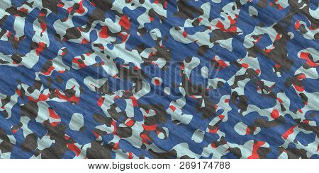 Gray Blue Red Army Camouflage Background. Military Uniform Clothing Texture. Seamless Combat Uniform