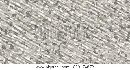 Gray Winter Army Camouflage Background. Military Uniform Clothing Texture. Seamless Combat Uniform.