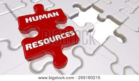 Human Resources. The Inscription On The Missing Element Of The Puzzle. Folded White Puzzles Elements