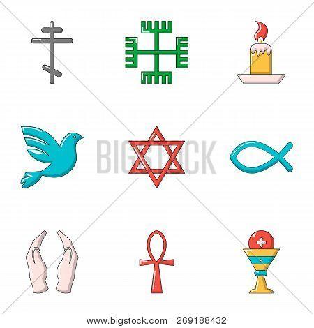 Faith Icons Set. Flat Set Of 9 Faith Vector Icons For Web Isolated On White Background