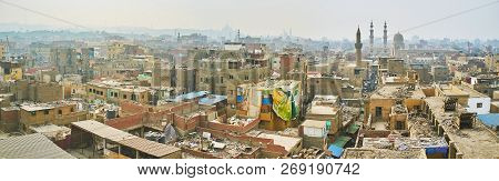 Panorama Of Islamic Cairo - Its Old Dusty Slums Neighbor With Medieval Mosques, Historic Mansions An