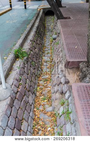 Irrigation Ditch At The Street In Mendoza, Argentina