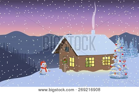 Winter Evening Twilight, Night With Illuminated House, Snowman In Santa Hat, Distant Mountains, Deco