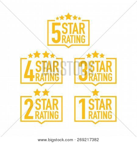 Set Of A Rating Stamp, Badge. Hotel Rating. Vector Stock Illustration.