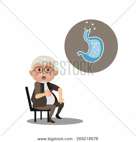 Old Man With Symptomatic Acid Reflux. Isolated On White Background