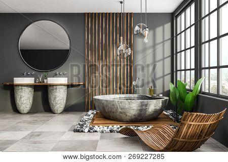 Gray Loft Bathroom Interior, Armchair