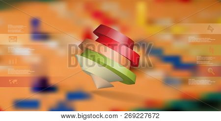 3d Illustration Infographic Template. The Round Pentagon Is Divided To Six Color Parts. Object Is As