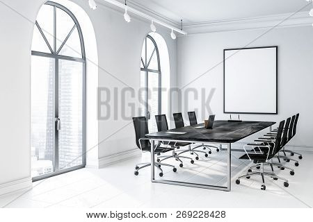 Arched Meeting Room Corner With Poster