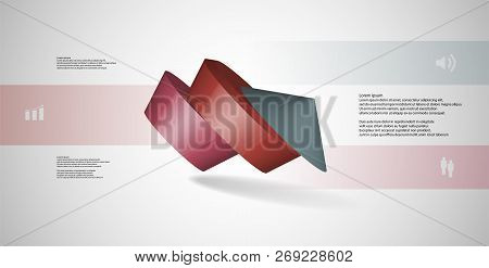 3D Illustration Infographic Template With Round Pentagon Askew Arranged