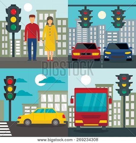 Traffic Lights Semaphore Banner Set. Flat Illustration Of Traffic Lights Semaphore Vector Banner Set