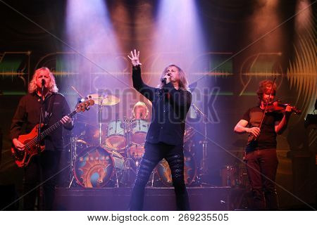 HUNTINGTON, NY - NOV 16: (L-R) Billy Greer, Ronnie Platt and David Ragsdale of Kansas perform at the Paramount on November 16, 2018 in Huntington, New York.