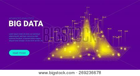 Artificial Intelligence, Big Data Analysis Visualization. Landing Page Template with Quantum Cryptography Concept. Business Presentation of Artificial Intelligence. Blockchain Virtual Visualization. poster