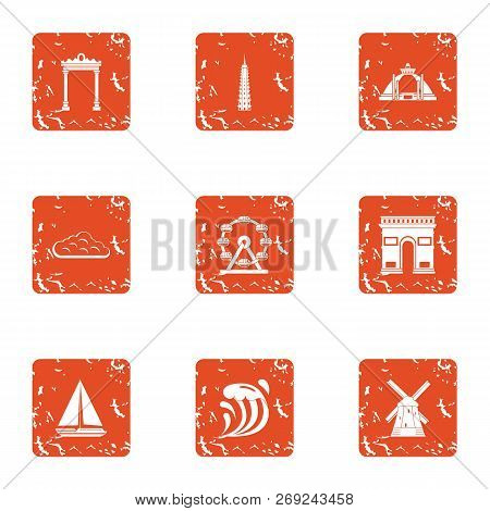 Mystery Icons Set. Grunge Set Of 9 Mystery Icons For Web Isolated On White Background