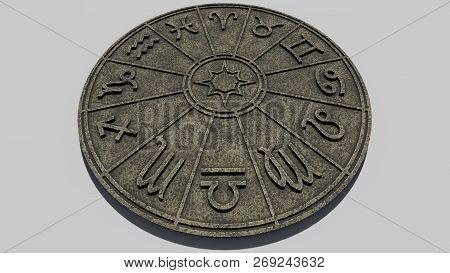 Astrological Zodiac Signs Inside Of Stone Horoscope Circle