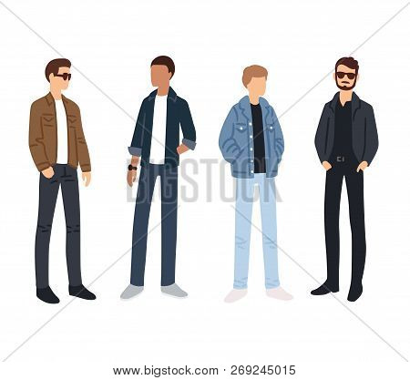 Male Fashion Models Color Sketches. Young People In Casual Street Style Clothes. Isolated Vector Ill