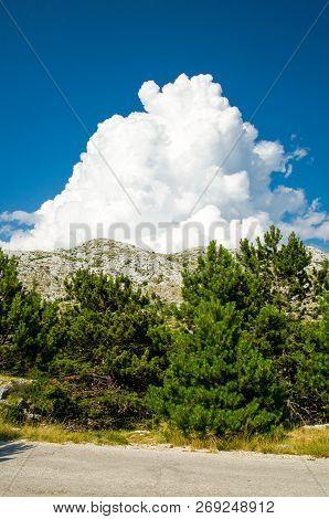 Hills And Rocks Of Biokovo Mountain Range With Cloudy Sky, Dalmatia, Croatia