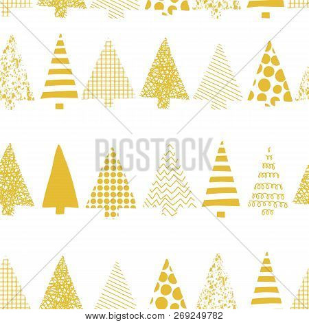 Abstract Christmas Trees In A Row Vector Seamless Pattern. Geometric Christmas Tree Silhouettes Gold