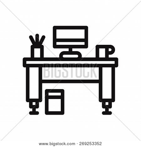 Work Desk Icon Isolated On White Background. Work Desk Icon In Trendy Design Style. Work Desk Vector