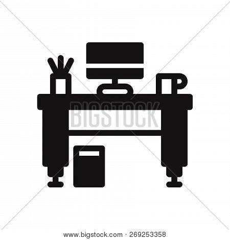 Work Desk Icon Isolated On White Background. Work Desk Icon In Trendy Design Style. Work Desk Vector