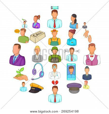Human Resource Icons Set. Cartoon Set Of 25 Human Resource Icons For Web Isolated On White Backgroun