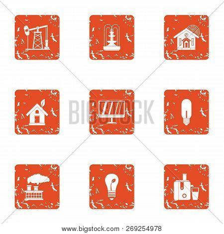 Pep Icons Set. Grunge Set Of 9 Pep Icons For Web Isolated On White Background