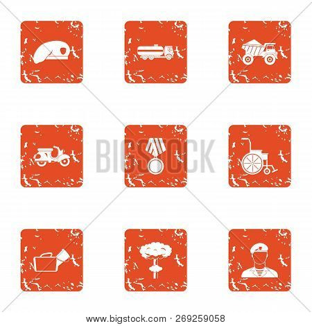 Military Court Icons Set. Grunge Set Of 9 Military Court Icons For Web Isolated On White Background