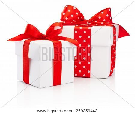 Two White Gift Boxes Tied Red Ribbon Bow Isolated On White Background