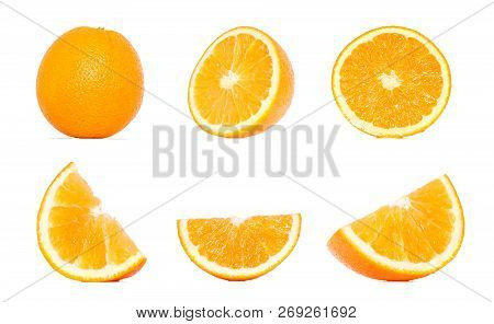 Orange Fruit Collection In Different Variations Isolated Over White Background. Whole And Sliced Ora