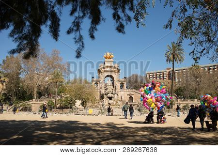 Barcelona, Spain - March 18, 2018:  Cascada at Parc de la Ciutadella. Triumphal Arch with Waterfall and Fountain. Barcelona. Spain.